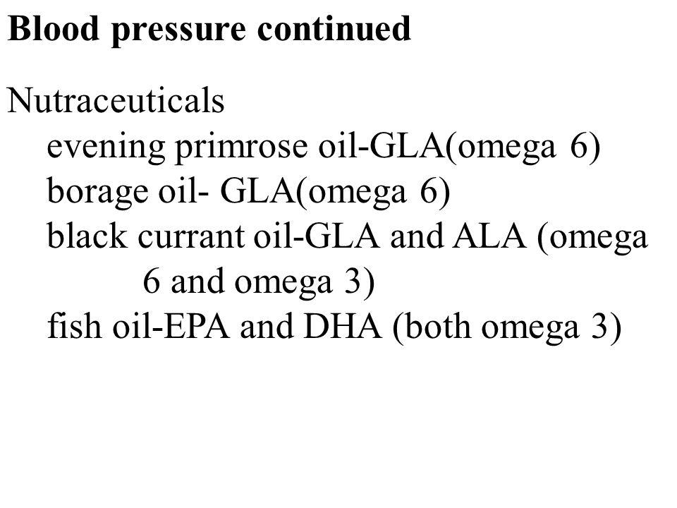 23 Blood pressure continued Nutraceuticals evening primrose oil-GLA(omega 6) borage oil- GLA(omega 6) black currant oil-GLA and ALA (omega 6 and omega 3) fish oil-EPA and DHA (both omega 3)
