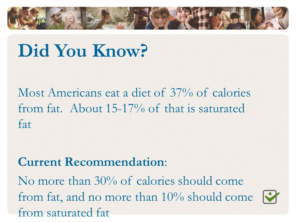 Did You Know? Most Americans eat a diet of 37% of calories from fat. About 15-17% of that is saturated fat Current Recommendation: No more than 30% of