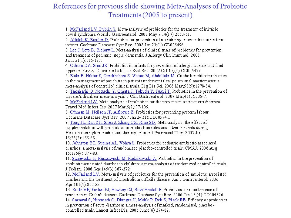 References for previous slide showing Meta-Analyses of Probiotic Treatments (2005 to present)