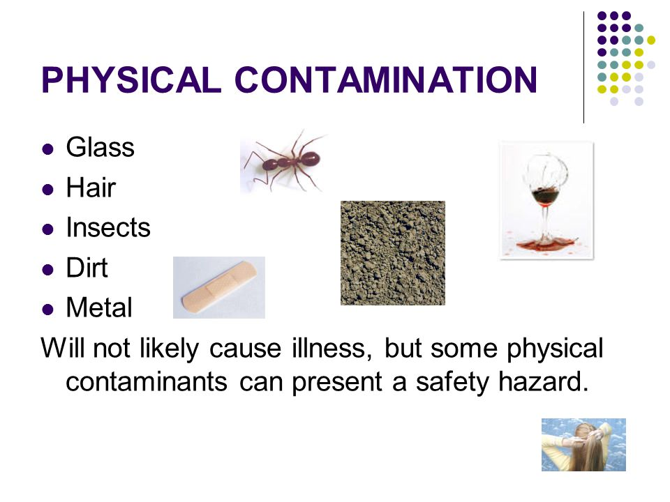 Chemical Contamination Antibiotics Insecticide Food service or cleaning chemicals Soap residue Chemical contamination can cause mild to severe illness.