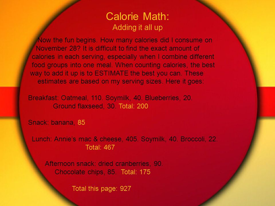 Calorie Math: Adding it all up Now the fun begins.