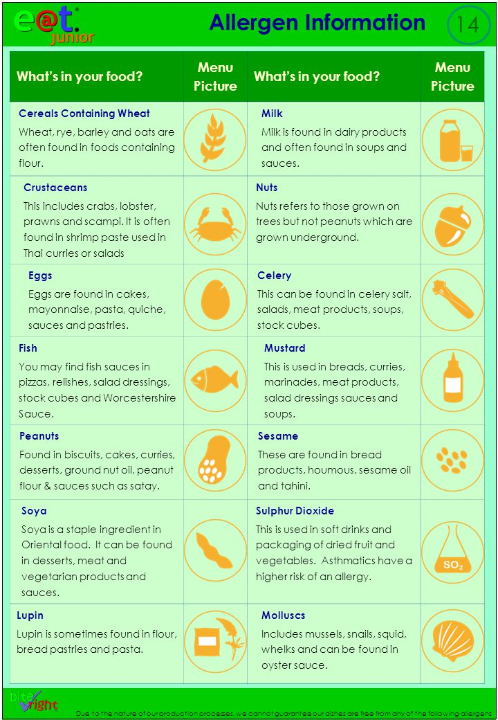 Allergen Information 14 Due to the nature of our production processes, we cannot guarantee our dishes are free from any of the following allergens What's in your food.