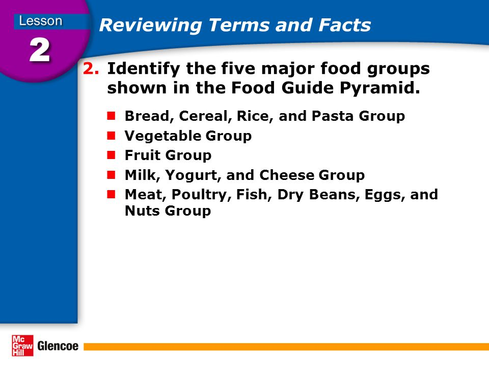 Reviewing Terms and Facts 2.Identify the five major food groups shown in the Food Guide Pyramid.
