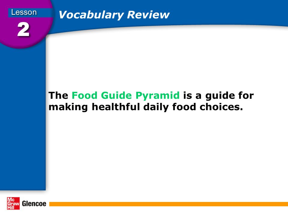 Vocabulary Review The Food Guide Pyramid is a guide for making healthful daily food choices.