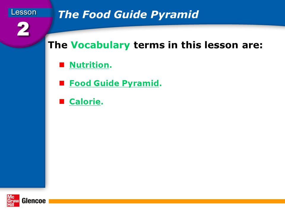 The Food Guide Pyramid The Vocabulary terms in this lesson are: Nutrition.