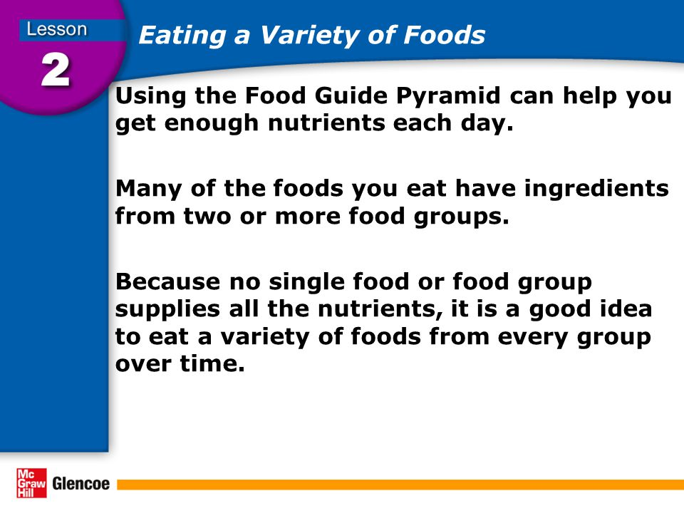 Eating a Variety of Foods Using the Food Guide Pyramid can help you get enough nutrients each day.