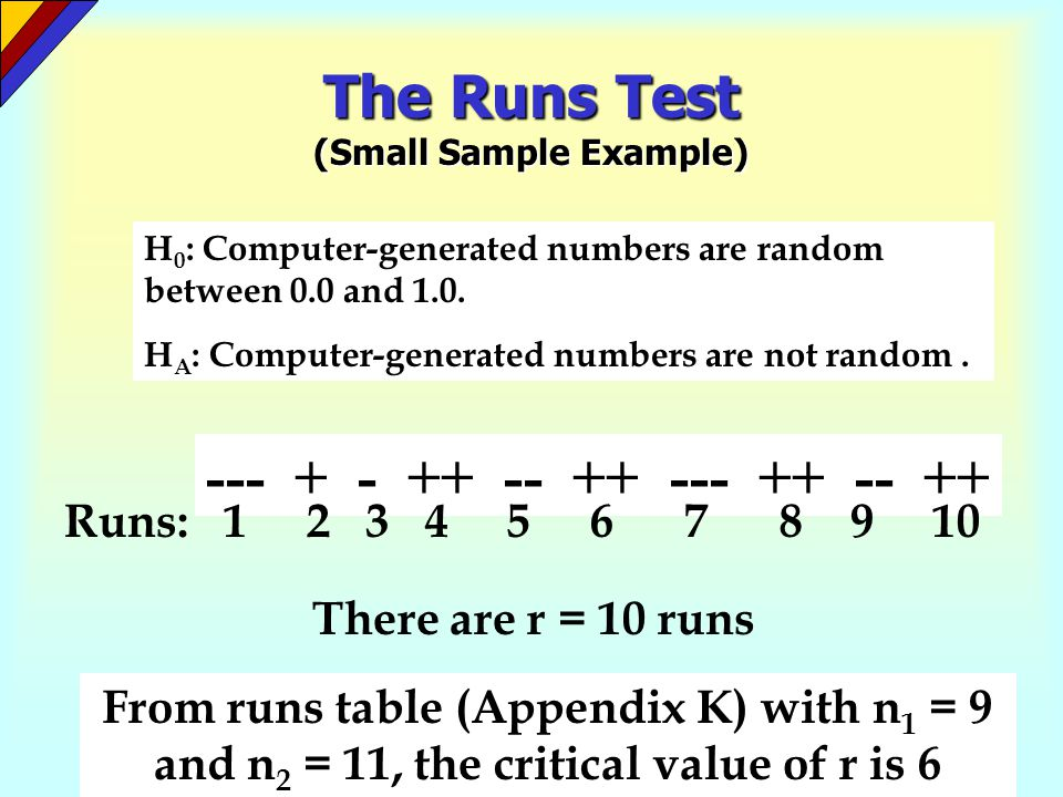 The Runs Test (Small Sample Example) Test Statistic: r = 10 runs Critical Values from Runs Table: Possible Runs: 1 2 3 4 5 6 7 8 9 10 11 12 13 14 15 16 17 18 19 20 Reject H 0 Do not reject H 0 Decision: Since r = 10, we do not reject the null hypothesis.