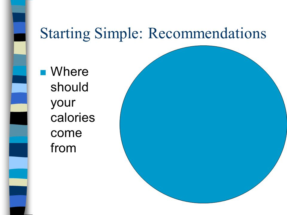 Starting Simple: Recommendations n Where should your calories come from