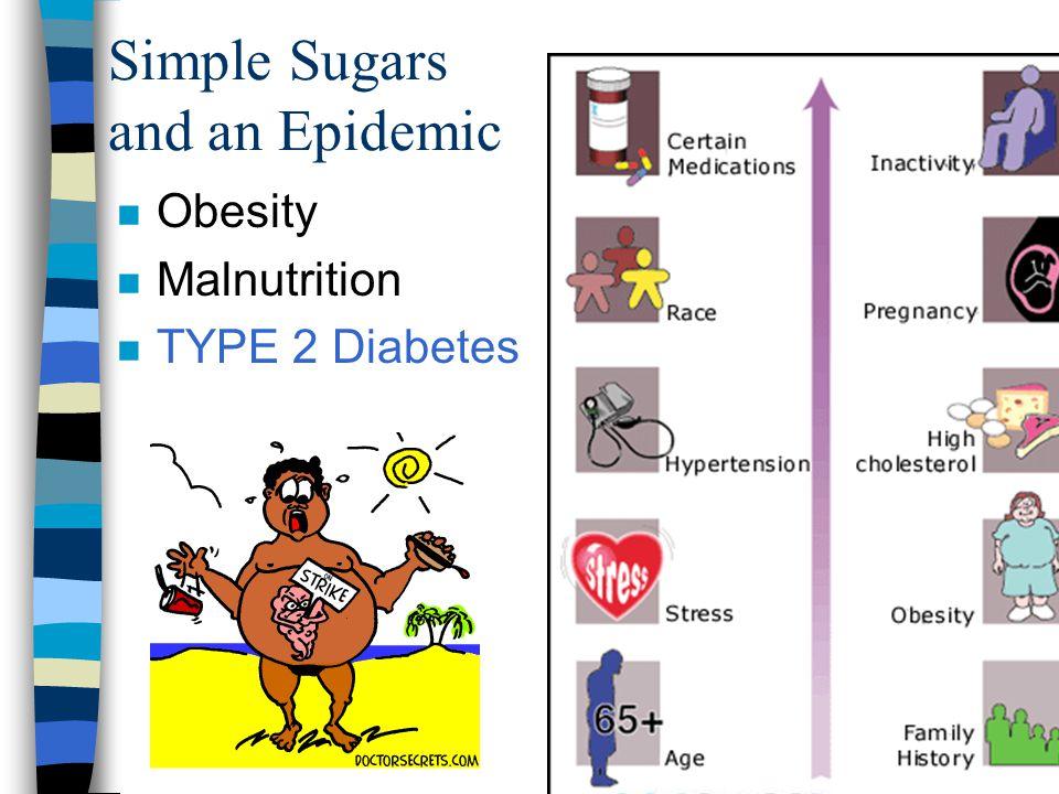 Simple Sugars and an Epidemic n Obesity n Malnutrition n TYPE 2 Diabetes