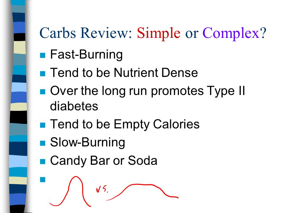 Carbs Review: Simple or Complex? n Fast-Burning n Tend to be Nutrient Dense n Over the long run promotes Type II diabetes n Tend to be Empty Calories