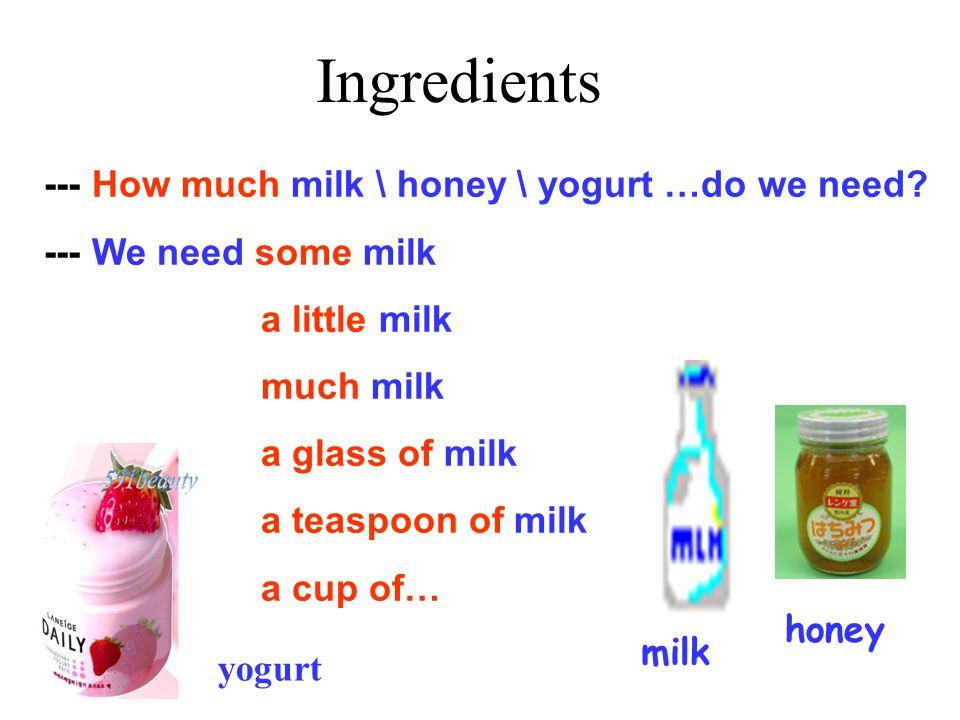 yogurt Ingredients milk honey --- How much milk \ honey \ yogurt …do we need.