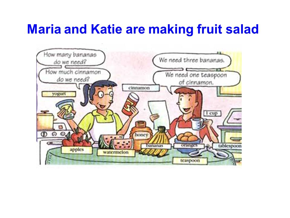 Maria and Katie are making fruit salad