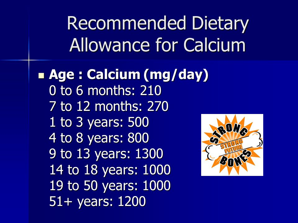 Recommended Dietary Allowance for Calcium Age : Calcium (mg/day) 0 to 6 months: 210 7 to 12 months: 270 1 to 3 years: 500 4 to 8 years: 800 9 to 13 ye