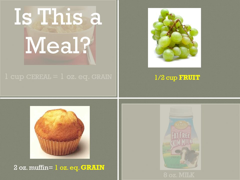 2 oz. muffin= 1 oz. eq. GRAIN 8 oz. MILK 1/2 cup FRUIT 1 cup CEREAL = 1 oz.