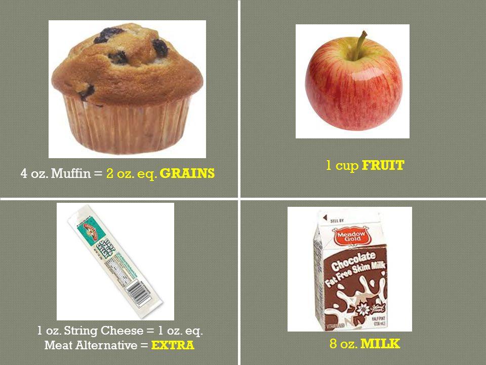 8 oz. MILK 1 cup FRUIT 4 oz. Muffin = 2 oz. eq.
