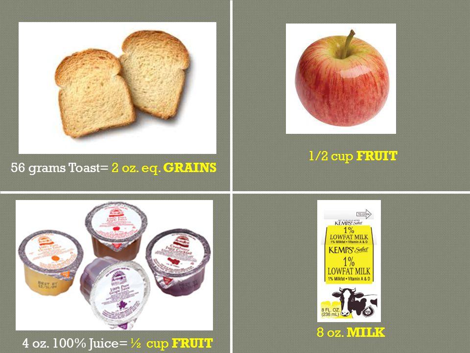 8 oz. MILK 1/2 cup FRUIT 56 grams Toast= 2 oz. eq. GRAINS 4 oz. 100% Juice= ½ cup FRUIT