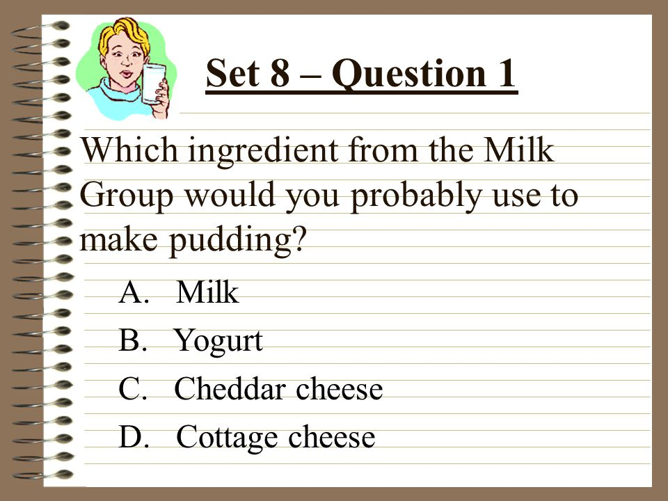 Which ingredient from the Milk Group would you probably use to make pudding.
