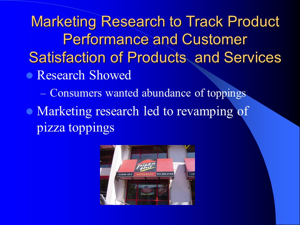 Marketing Research to Track Product Performance and Customer Satisfaction of Products and Services Research Showed – Consumers wanted abundance of toppings Marketing research led to revamping of pizza toppings
