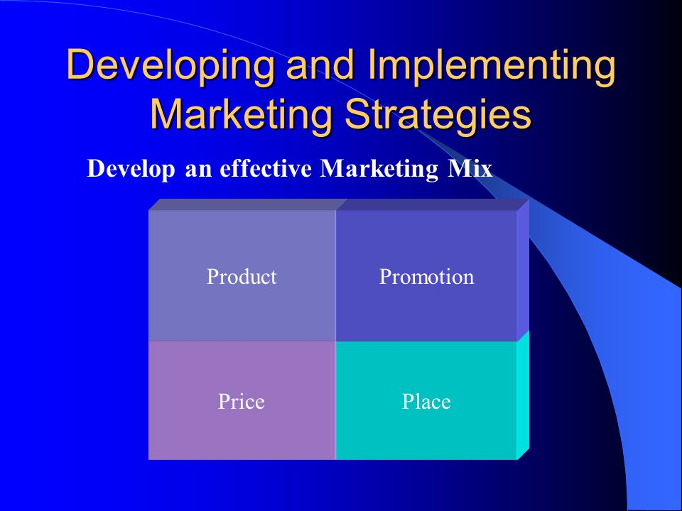 Developing and Implementing Marketing Strategies Develop an effective Marketing Mix PricePlace ProductPromotion