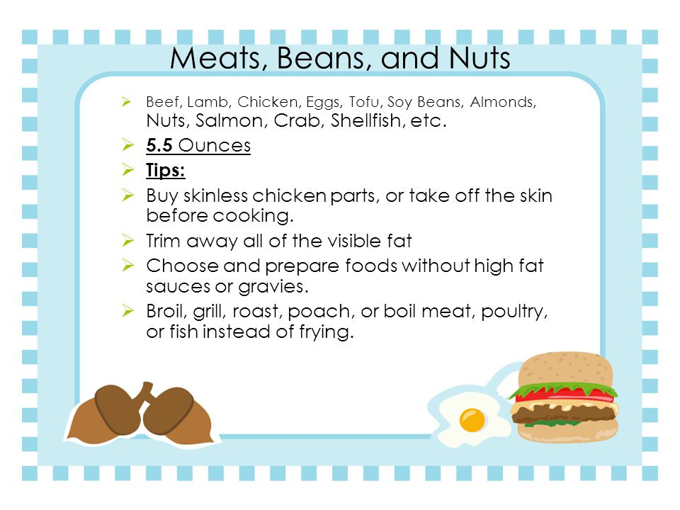 Meats, Beans, and Nuts  Beef, Lamb, Chicken, Eggs, Tofu, Soy Beans, Almonds, Nuts, Salmon, Crab, Shellfish, etc.