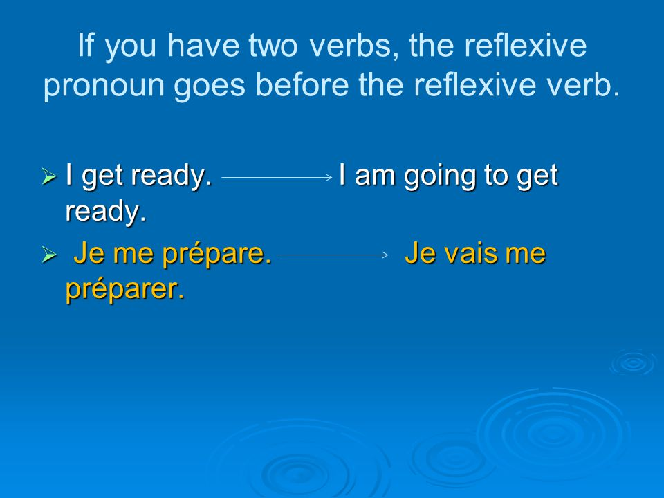 If you have two verbs, the reflexive pronoun goes before the reflexive verb.  I get ready. I am going to get ready.  Je me prépare. Je vais me prépa