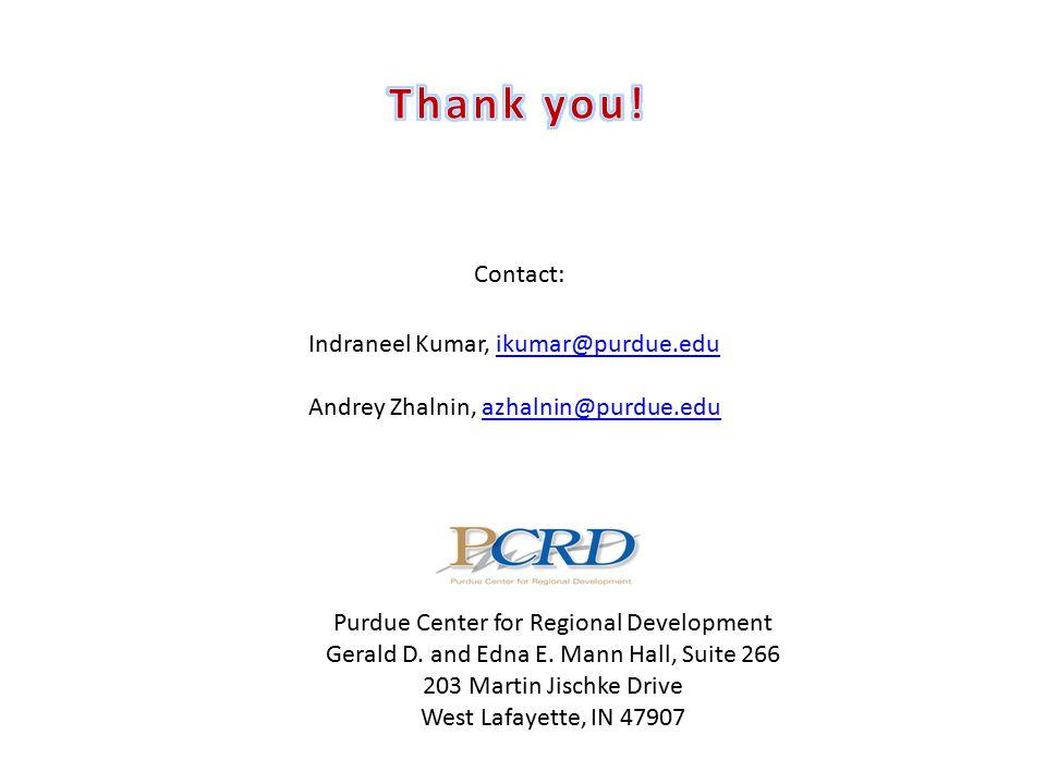 Indraneel Kumar, ikumar@purdue.eduikumar@purdue.edu Andrey Zhalnin, azhalnin@purdue.eduazhalnin@purdue.edu Purdue Center for Regional Development Gerald D.