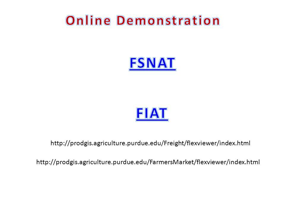 http://prodgis.agriculture.purdue.edu/Freight/flexviewer/index.html http://prodgis.agriculture.purdue.edu/FarmersMarket/flexviewer/index.html