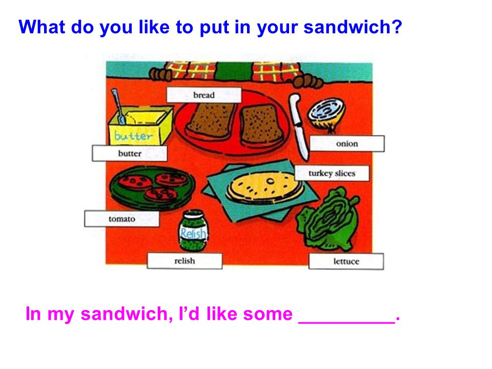 What do you like to put in your sandwich? In my sandwich, I'd like some _________.