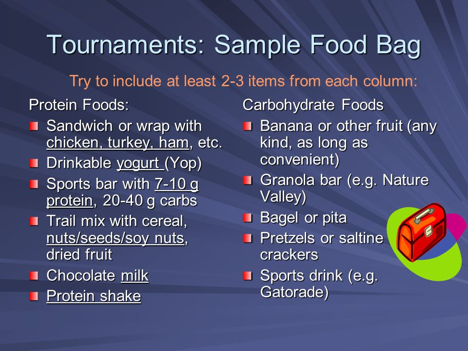 Tournaments: Sample Food Bag Protein Foods: Sandwich or wrap with chicken, turkey, ham, etc. Drinkable yogurt (Yop) Sports bar with 7-10 g protein, 20