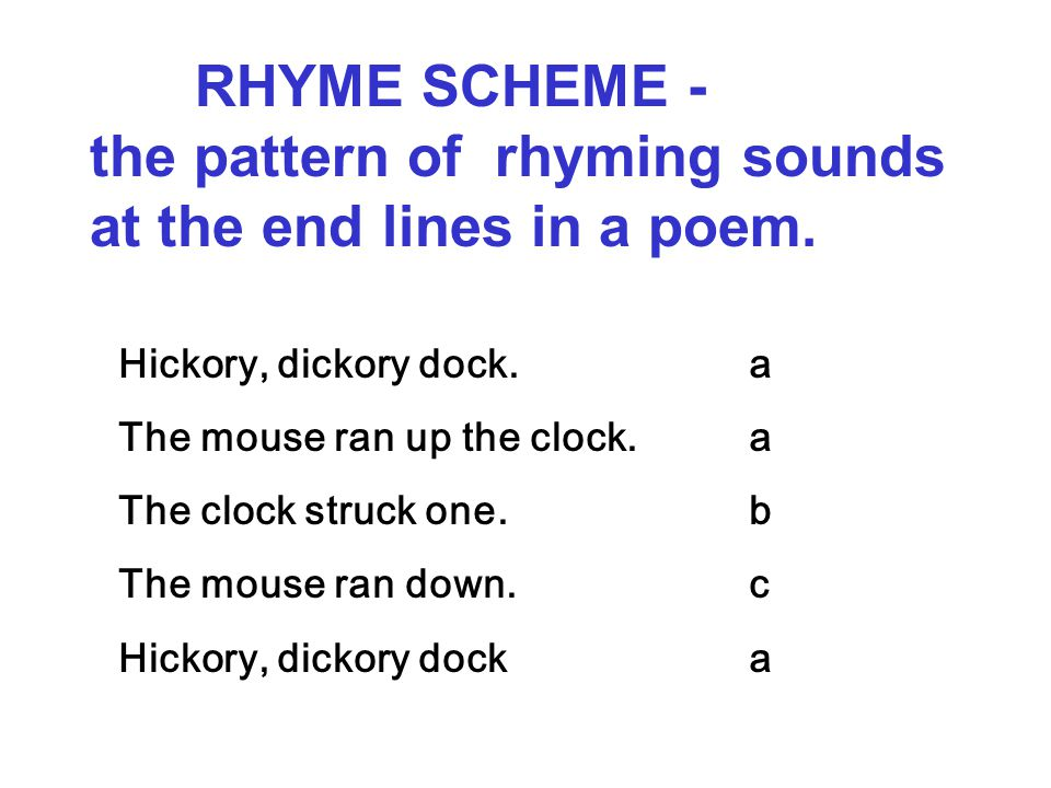 RHYME SCHEME - the pattern of rhyming sounds at the end lines in a poem.