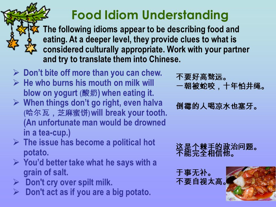 Food Idiom Understanding  Don't bite off more than you can chew.