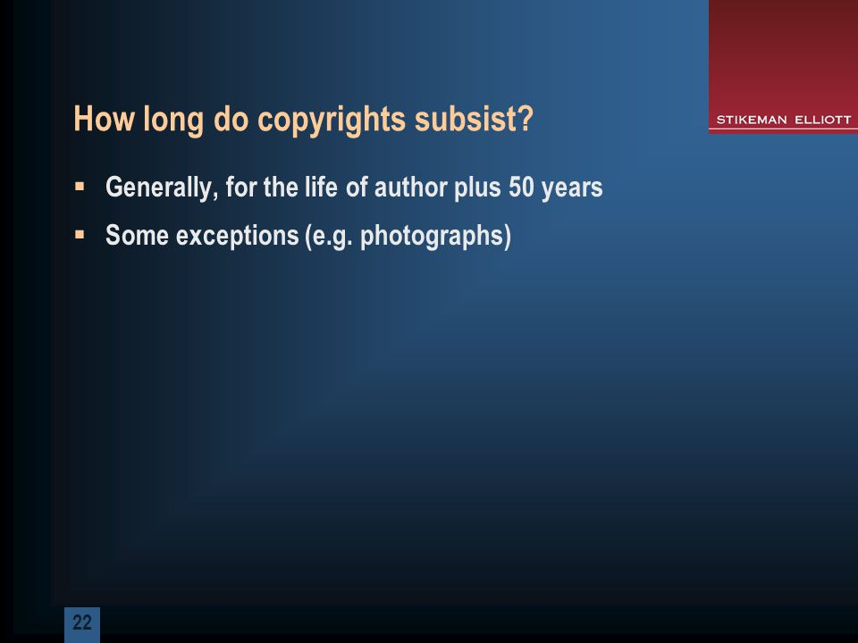 22 How long do copyrights subsist.