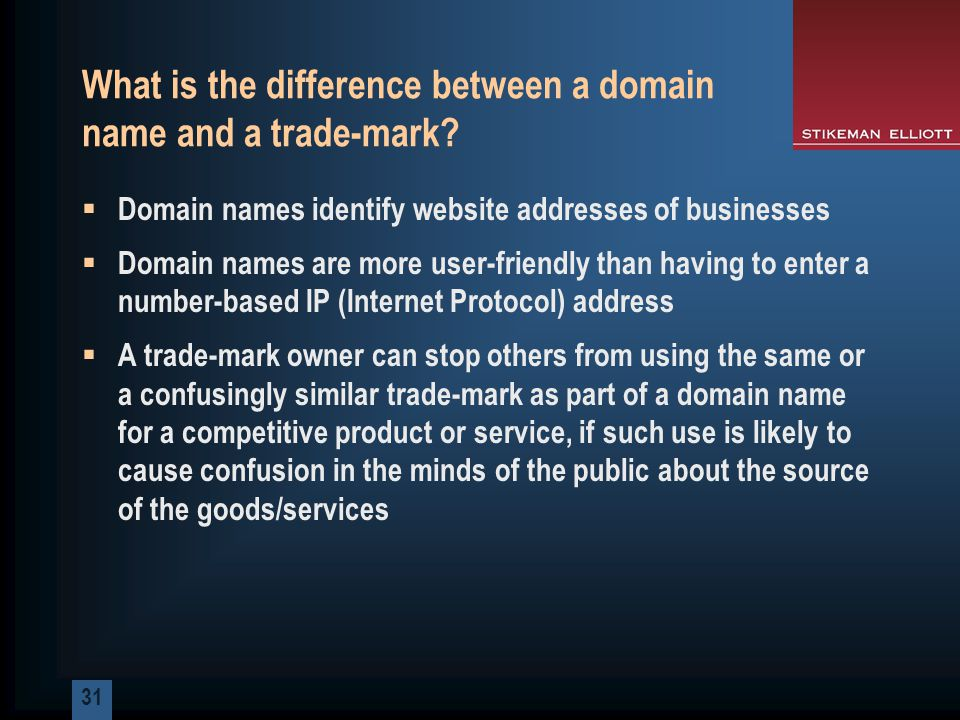 31 What is the difference between a domain name and a trade-mark.