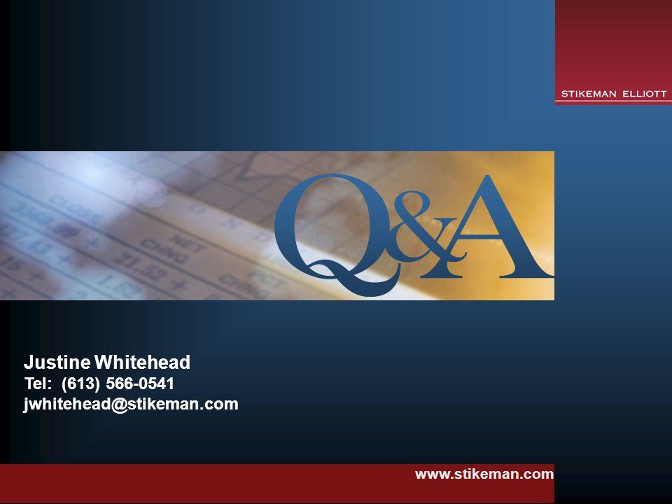 www.stikeman.com Justine Whitehead Tel: (613) 566-0541 jwhitehead@stikeman.com