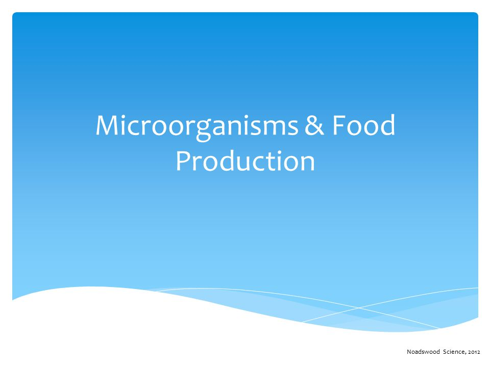 Microorganisms & Food Production Noadswood Science, 2012