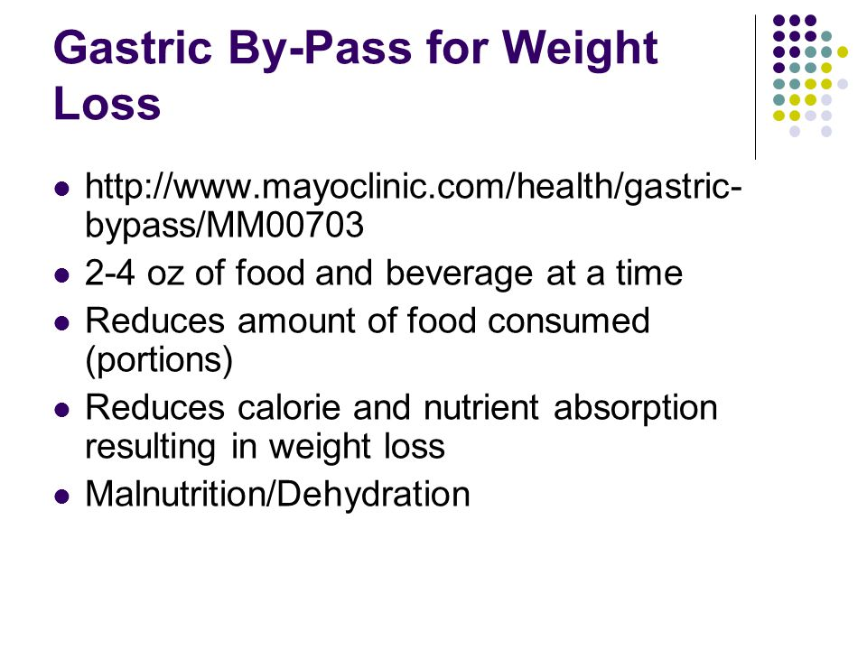 Gastric By-Pass for Weight Loss http://www.mayoclinic.com/health/gastric- bypass/MM00703 2-4 oz of food and beverage at a time Reduces amount of food consumed (portions) Reduces calorie and nutrient absorption resulting in weight loss Malnutrition/Dehydration