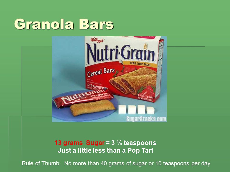 Granola Bars 13 grams Sugar = 3 ¼ teaspoons Just a little less than a Pop Tart Rule of Thumb: No more than 40 grams of sugar or 10 teaspoons per day