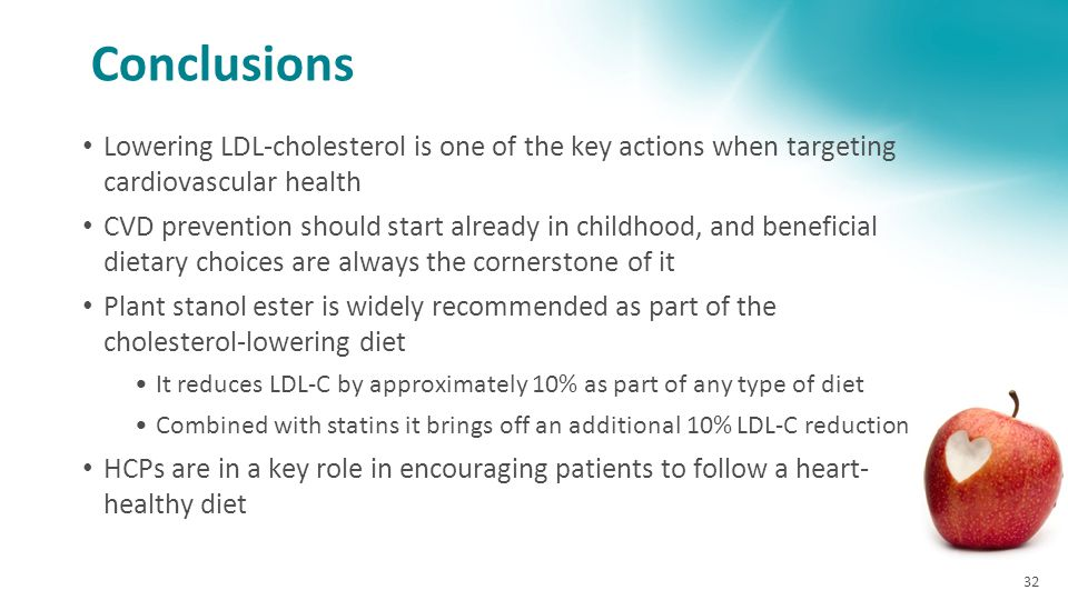 Conclusions Lowering LDL-cholesterol is one of the key actions when targeting cardiovascular health CVD prevention should start already in childhood,