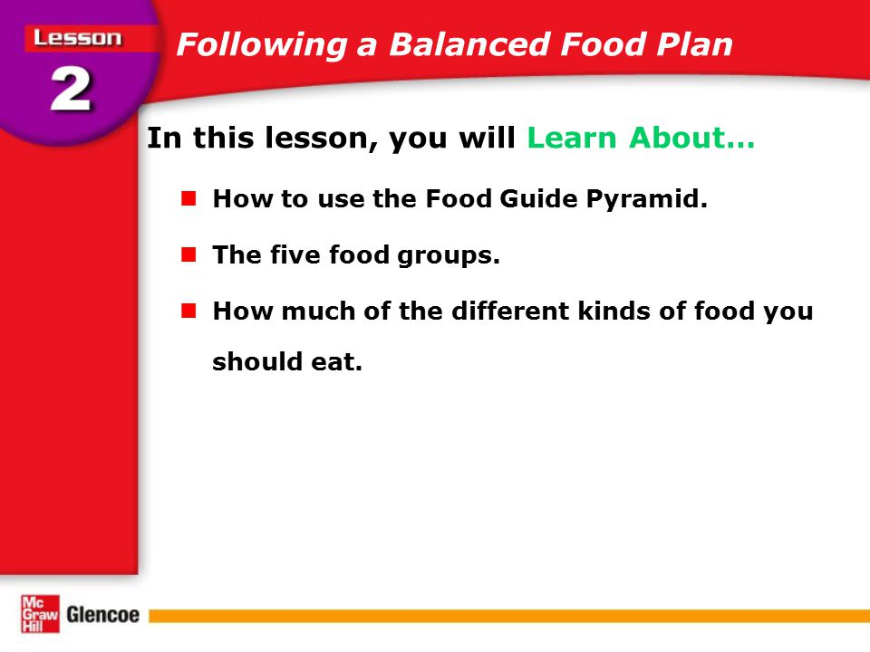 Following a Balanced Food Plan In this lesson, you will Learn About… How to use the Food Guide Pyramid. The five food groups. How much of the differen