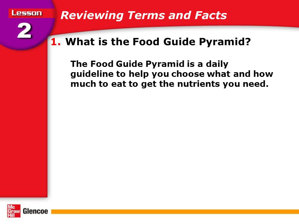 Reviewing Terms and Facts 1.What is the Food Guide Pyramid? The Food Guide Pyramid is a daily guideline to help you choose what and how much to eat to