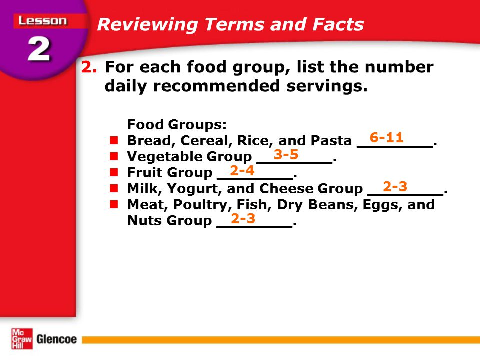 Reviewing Terms and Facts 2.For each food group, list the number daily recommended servings. Food Groups: Bread, Cereal, Rice, and Pasta ________. Veg