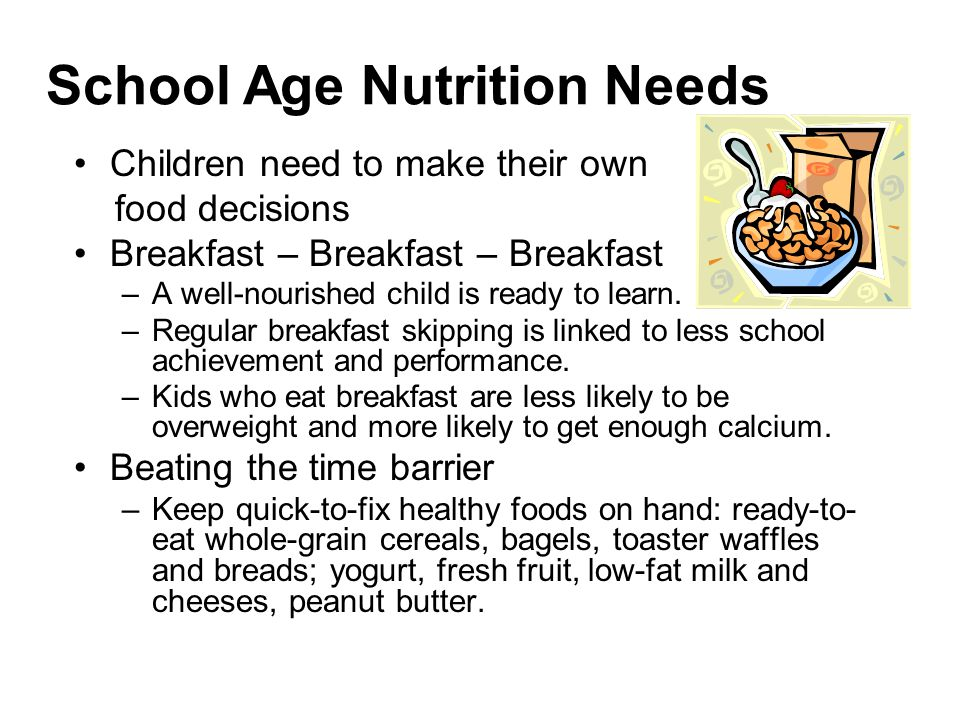 School Age Nutrition Needs Children need to make their own food decisions Breakfast – Breakfast – Breakfast –A well-nourished child is ready to learn.