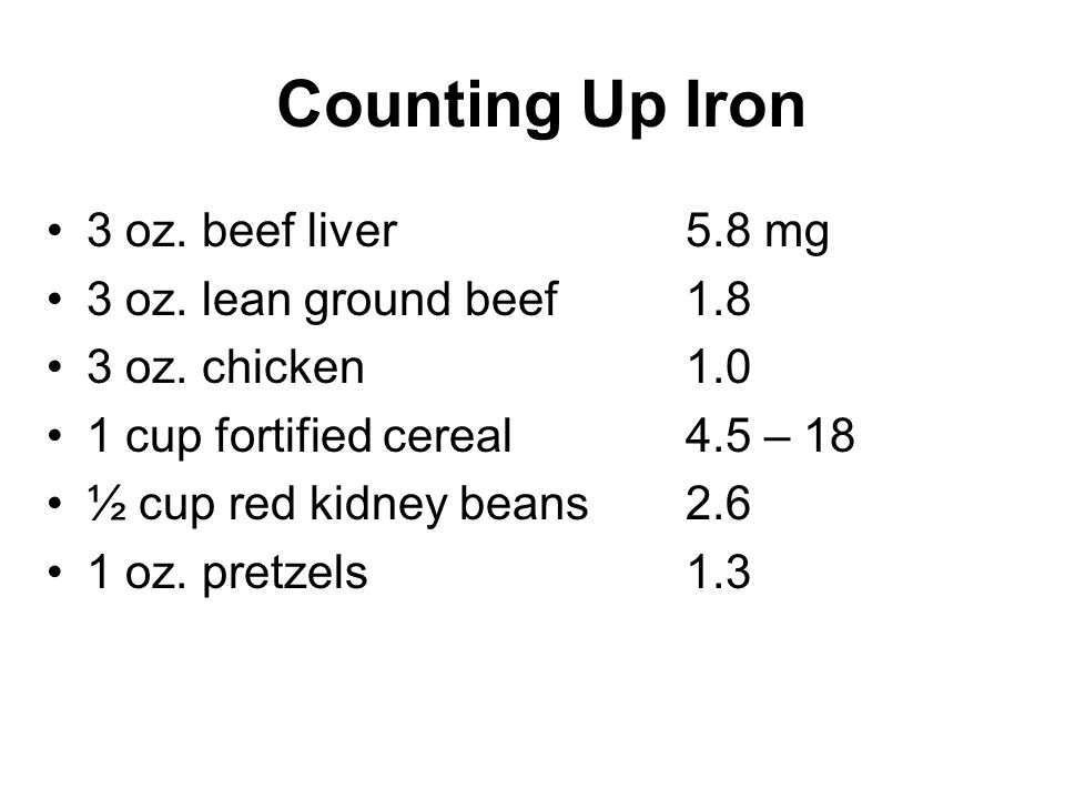 Counting Up Iron 3 oz. beef liver5.8 mg 3 oz. lean ground beef1.8 3 oz.