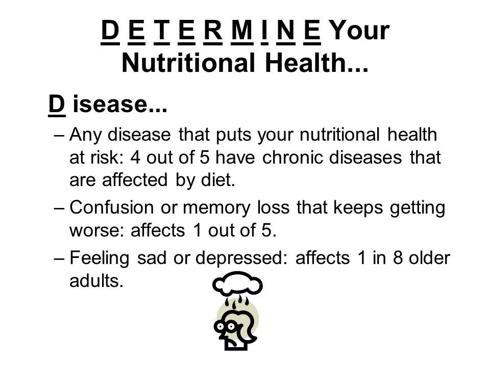 D E T E R M I N E Your Nutritional Health... D isease...