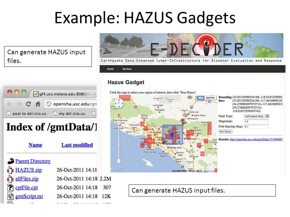 Example: HAZUS Gadgets Can generate HAZUS input files.