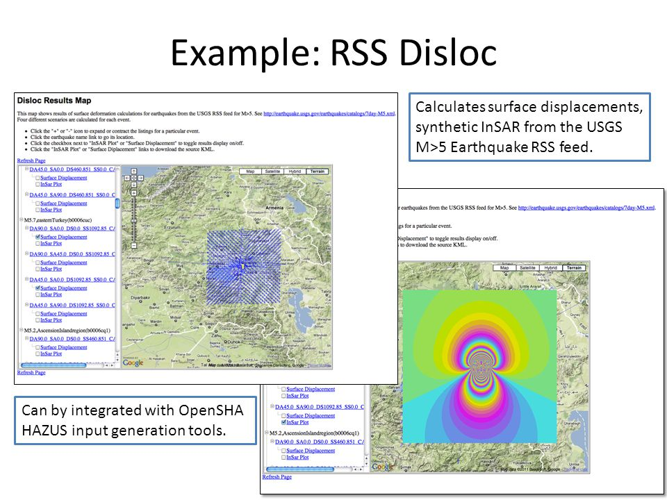 Example: RSS Disloc Calculates surface displacements, synthetic InSAR from the USGS M>5 Earthquake RSS feed.