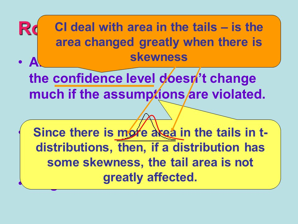 Robust An inference procedure is ROBUST if the confidence level doesn't change much if the assumptions are violated.