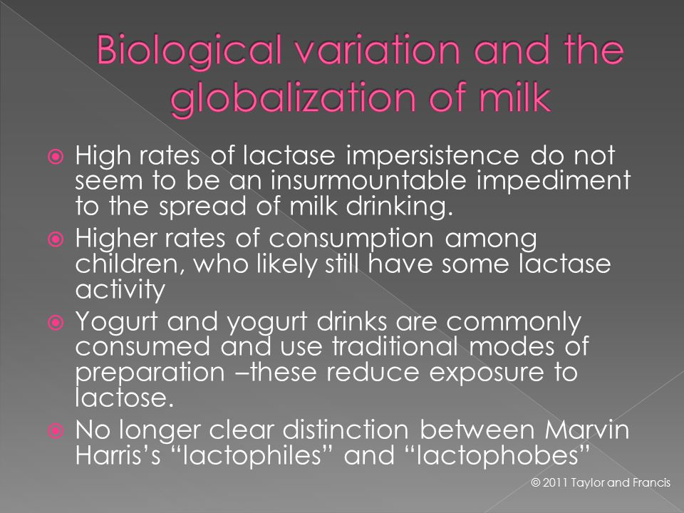  High rates of lactase impersistence do not seem to be an insurmountable impediment to the spread of milk drinking.