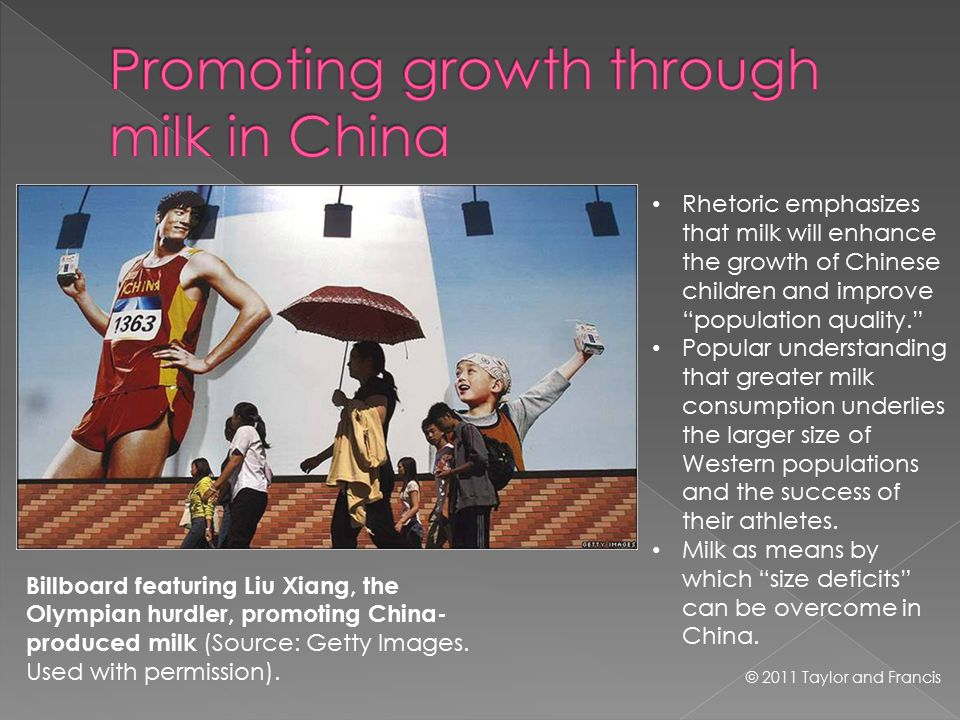 © 2011 Taylor and Francis Billboard featuring Liu Xiang, the Olympian hurdler, promoting China- produced milk (Source: Getty Images.