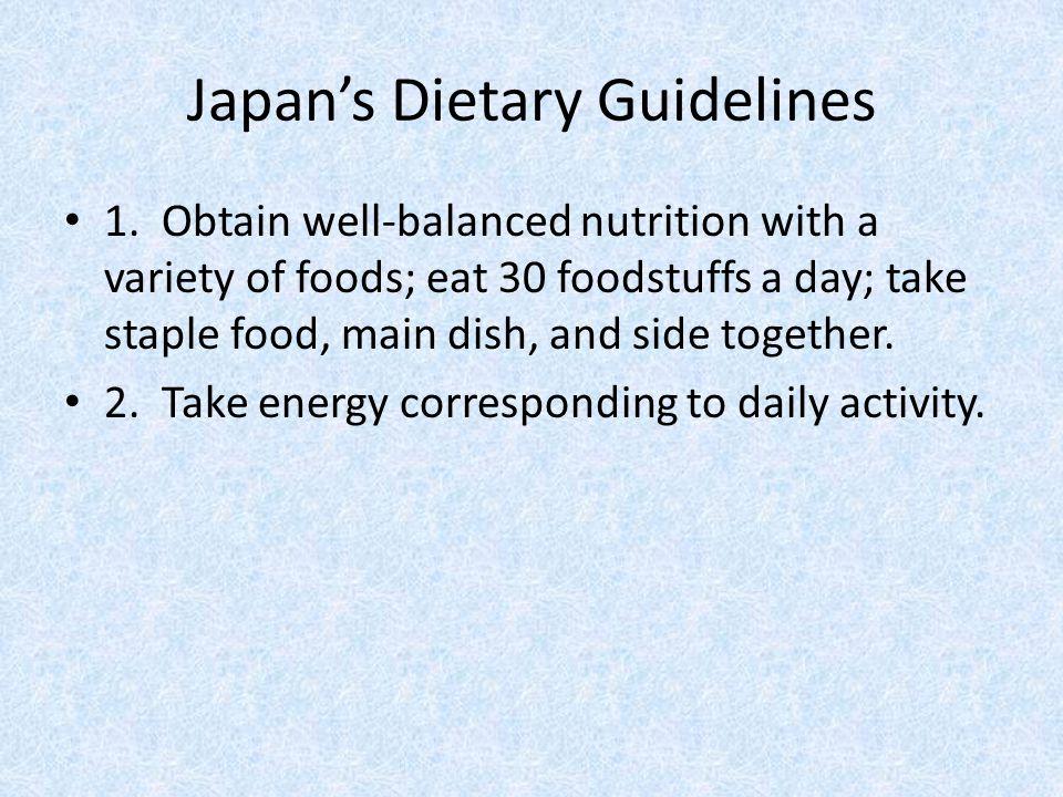 Japan's Dietary Guidelines 1.
